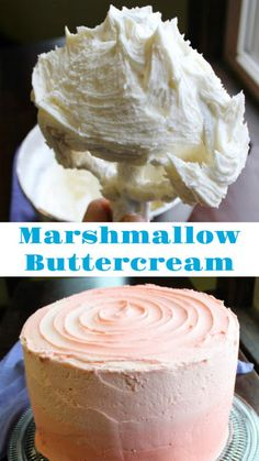 Marshmallow Fluff Buttercream American buttercream with a marshmallow fluff twist. It tastes like a marshmallow but spreads nicely, works on layer cakes and is even good for piping! Marshmallow Buttercream Frosting Recipe, Marshmallow Fluff Frosting, Marshmallow Fluff Recipes, Fluffy Frosting, Chocolate Marshmallow Cake, Recipes With Marshmallows, Buttercream Flowers, Cake Icing, Smores Dessert