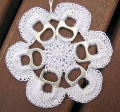 #Crochet Christmas Decoration  Like, Repin, and Share!  Please follow me!  Thanks! Pop Top Crochet, Crochet Yarn, Soda Tab Crafts, Can Tab Crafts, Sodas, Crochet Flowers, Doilies, Pop Top Crafts, Pop Can Tabs