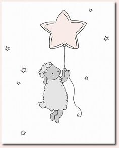 Lamb Nursery Art — Lamb Star Balloon — Pink and Gray Nursery Decor — Lamb Art Print — Sheep Nursery Art – Children Art - Decoration For Home Sheep Nursery, Lamb Nursery, Nursery Art, Nursery Decor, Room Decor, Art Wall Kids, Art For Kids, Art Children, Wall Art