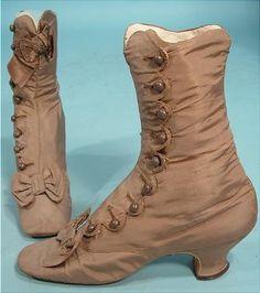 1870 Tan Taffeta Silk Boots