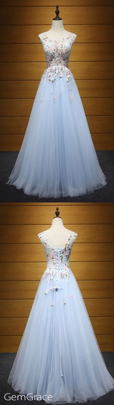 Floral lace a-line blue prom dress
