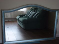 LARGE WOOD FRAME WALL / OVERMANTLE  MIRROR