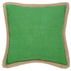 Highlighted by a braided jute rope border, this eco-friendly pillow brings chic style to your settee or favorite arm chair.      Produc...