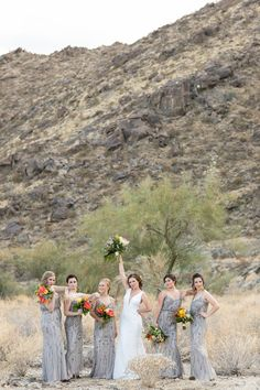 Grey Bridesmaid Gowns With Beaded Details // Vibrant Jungle Inspired Palm Springs Wedding via TheELD.com Grey Bridesmaid Gowns, Palm Springs, Spring Wedding, Vibrant, Inspired, Detail, Inspiration, Biblical Inspiration, Grey Bridesmaid Dresses