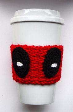 Ravelry: Deadpool Coffee Cup Cozy pattern by The Enchanted Ladybug Crochet Coffee Cozy, Coffee Cup Cozy, Crochet Cozy, Crochet Gifts, Crochet Things, Free Crochet, Coffee Cozy Pattern, Easy Crochet Projects, Crochet Ideas