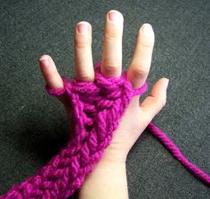 Knitting using hand (I used to love all sorts of wool-craft as a kid, and knitting using your hand has to rank up there!)