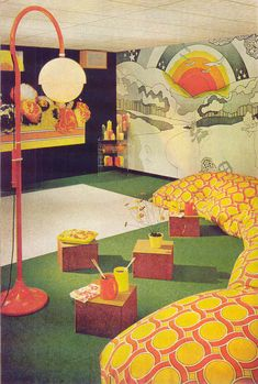 "Rooms from the 70's today - and let's start with my favorite - ""Supergraphics"" on your wall, from an advertisement for Lucite Paint. Nice ch..."
