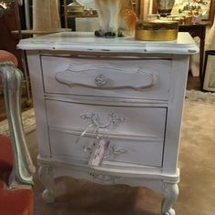 Small French Provincial style cabinet with two drawers painted whit...