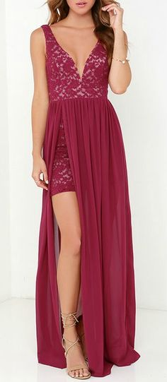 Part the curtains for a fabulous debut in the Make Way for Wonderful Berry Red Lace Maxi Dress! Stretchy floral lace peeks through to a beige lining, constructing a plunging neckline fortified by a hidden V bar for shape. Sheer berry red chiffon falls from the natural waistline, opening into a full-length slit on the right side to expose a little leg. #lovelulus