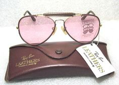 RAY-BAN NOS B&L VINTAGE AVIATOR LEATHERS *RARE ROSE *CHANGEABLES *NEW SUNGLASSES #RayBanbyBauschLomb #AviatorOutdoorsmanILeathers