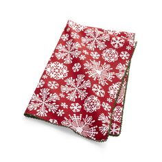 Shop Snowflake Dish Towel.  A blizzard of intricate, white snowflakes patterns all over this red cotton holiday dish towel, trimmed with green lace for added interest.