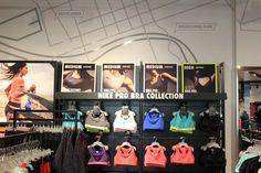 Nike Running retail display and women's Bra Bar sportswear display.