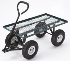 Farm Ranch Steel Flatbed Utility Cart with Padded Pull Handle and Pneumatic Tires Capacity by Green Finish -- Read more at the image link. Garden Wagon, Garden Cart, Off The Grid, Lawn And Garden, Garden Tools, Rolling Utility Cart, Welding Cart, Pedal Cars, Wheelbarrow