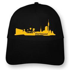 Dortmund Skyline Kappe. Kappe Dortmund Skyline, Einheitsgröße, 4 gestickte Luftlöcher,  Flexdruck