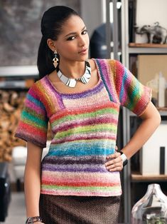16 – Saddle Shoulder Colorblock Top | Knitting Fever Yarns & Euro Yarns
