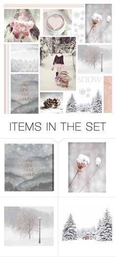 """""""Snow Day"""" by catchsomeraes ❤ liked on Polyvore featuring art, Winter, Pink, snow and etsyevolution"""