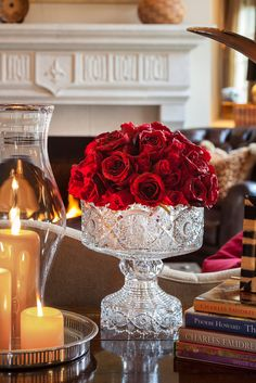 Gorgeous Flower Arrangement of Red Roses! Lovely Crystal footed bowl for flower arrangements! Vibeke Design, Waterford Crystal, Crystal Vase, Decoration Table, Red Roses, Floral Arrangements, Flower Arrangement, Beautiful Flowers, Floral Design