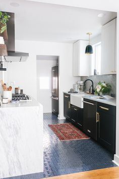 The Long-Awaited Reveal of Our Tuxedo Kitchen Renovation! Small kitchen remodel … The Long-Awaited Reveal of Our Tuxedo Kitchen Renovation! Small Bungalow, Bungalow Kitchen, Bungalow Homes, Kitchen In, Kitchen Ideas, Kitchen Floor, 10x10 Kitchen, Square Kitchen, Kitchen Layout