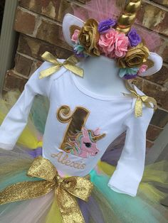 Personalized Unicorn Shirt or Creeper, Matching Headband and Matching Tutu. Perfect for that birthday unicorn party. Shirt can be personalized with your childs name. Please leave personalization information in the order message. Ships from a pet and smoke free shop. Thank you