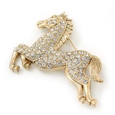 Large Swarovski Crystal 'Horse' Brooch In Gold Plating - 70mm Length *** Want additional info? Click on the image. (This is an affiliate link) #NiceJewelry
