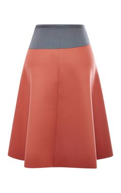 This neoprene **Clover Canyon** skirt features a wraparound construction, a high waist with grey foldover detail, and an a-line shape.