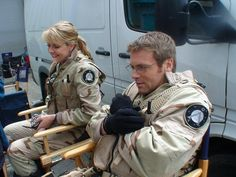 Amanda Tapping and Michael Shanks. Behind the scenes of Stargate and Stargate Continuum Stargate Ships, Stargate Atlantis, Michael Shanks, Best Sci Fi Series, Tv Series, Stargate Universe, Marvel Universe, Amanda Tapping, Richard Dean Anderson