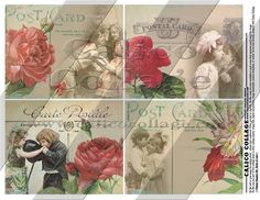 Young Love, Digital Collage Sheet, 4x5 Inch Images, Printables, Decoupage Paper, Valentines Graphics, Calico Collage, Vintage Post Cards