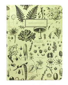 Plants & Fungi Hardcover EcoJournal This light green botany notebook shows off some vintage illustrations of fungi and various plants. These journals are great for taking notes, jotting down lab findings, or collecting your thoughts!  The pages are college ruled on one side and graph paper on the back.