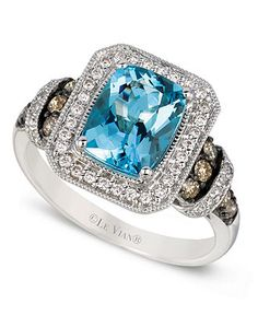 Le Vian 14k White Gold Ring, Aquamarine and White and Chocolate Diamond Ring (1-9/10 ct. t.w.) - SALE & CLEARANCE - Jewelry & Watches - Macy's