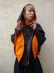 Cape-laine-marron-violet-doublee-coton-orange