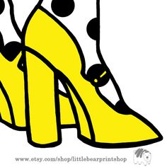 Items similar to High Heels in Yellow White Background, Wall Art Print Poster on Etsy Yellow High Heels, Bear Print, Kids Rooms, Printable, Digital, Artwork, Prints, Etsy, Beautiful