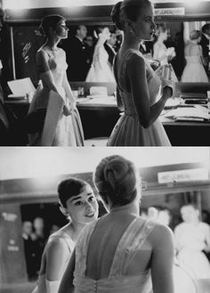Audrey Hepburn and Grace Kelly backstage, waiting to present at the 1956 Academy Awards.
