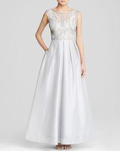 Aidan Mattox Gown - Sleeveless Beaded Bodice & Pleated Taffeta Skirt | Bloomingdale's