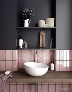 Pink is the color that can't leave someone cold. It is either loved or hated. But pink has many shades that can have completely different effect on interior design of the bathroom.