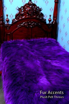 Plush Faux Fur Bedspread / xl King Size / by BedspreadsAndThrows Purple Love, All Things Purple, Shades Of Purple, Dark Purple, Purple Stuff, Purple Bedroom Decor, Faux Fur Bedding, Bedspreads Comforters, Purple Kitchen