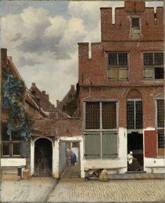 Johannes Vermeer | View of Houses in Delft, Known as 'The Little Street', Johannes Vermeer, c. 1658 | Gezicht op huizen in Delft, bekend als 'Het straatje'. De gevels van enkele huizen aan een straat in Delft. Tussen de huizen een steegje waar een vrouw over een wastobbe gebogen staat. In de openstaande deur van het huis rechts zit een vrouw te handwerken, links voor het huis op de stoep twee spelende kinderen.