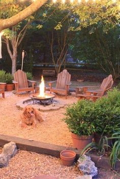 Soft white lights hanging from the trees, firepit (mine would be in-ground & larger) surrounded by cool, laid back, rustic chairs.