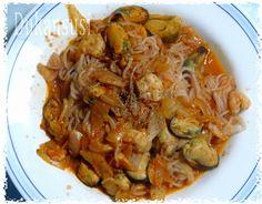 Recetas Dukan - Dukansusi: Espagueti Dukan a la marinera ( desde Fase Ataque) Japchae, Clean Eating, Pasta, Chicken, Meat, Ethnic Recipes, Food, Cheese Biscuits, Pumpkin Crunch