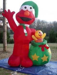 rare 8 lighted christmas sesame street elmo inflatable airblown yard blow up - Funny Blow Up Christmas Decorations