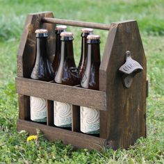 Wooden Six Pack Beer Tote with Bottle Opener