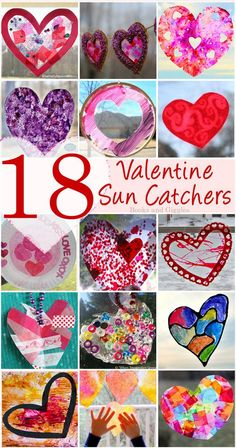 18 Stunning Valentine Suncatchers for Kids of All Ages A roundup of 18 heart-shaped suncatchers for Valentine's Day. Wide variety of materials and metho Valentine's Day Crafts For Kids, Valentine Crafts For Kids, Craft Activities For Kids, Valentine Ideas, Toddler Crafts, Kid Crafts, Craft Projects, Valentine Theme, Valentines Day Party