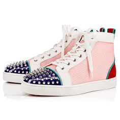 CHRISTIAN LOUBOUTIN Lou Spikes Flat Version Multi Patent Leather. #christianlouboutin #shoes #