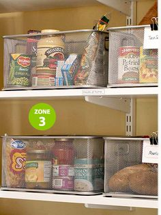 This is why I need my own house with a REAL pantry and not a cabinet. Who heard of a house with no pantry? Meal Planning - have ingredients for each meal for the week. Grab a bin and start cooking! Office Desk Organization, Do It Yourself Organization, Storage Organization, Organizing Ideas, Storage Bins, Storage Solutions, Storage Ideas, Food Pantry Organizing, Trailer Organization