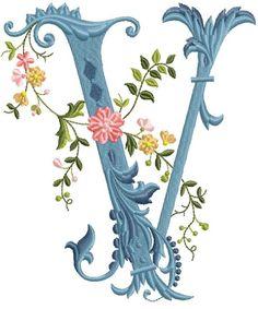 alfabeto celeste con flores V
