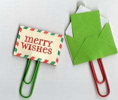 Merry Wishes Paper Clips - Paper Clips for Planners - Christmas GIft Tags - Pocket Letter Clips - Christmas Paper Clips - Tiny Envelopes