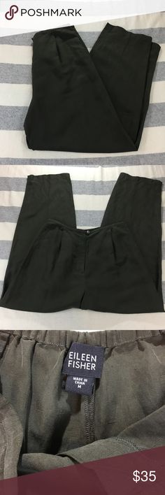 Eileen Fisher Linen/Silk Pants Medium Olive Used, good condition with no rips or stains. Measurements shown in photos. 55% Linen, 45% Silk. Color is a sort of green/taupe. Eileen Fisher Pants