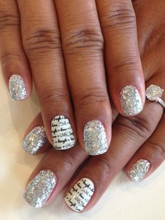 Silver loose glitter packed on with Bio Sculpture clear gel seal. #3 - Snow White with Live*Laugh*Love stamp