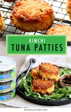 Soy ginger dipping sauce makes this Kimchi Tuna Patties recipe a fresh take on the pescatarian burger. Tuna Recipes, Seafood Recipes, Indian Food Recipes, Asian Recipes, Healthy Recipes, Tuna Patties, Patties Recipe, Pork Neck Recipe, Japanese Cheesecake Recipes