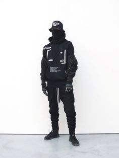 Dark Fashion, Urban Fashion, Mens Fashion, Fashion Outfits, White Fashion, Mode Cyberpunk, Cyberpunk Fashion, Men Looks, Wearing All Black