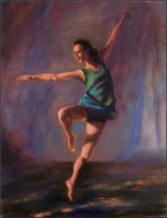 Allegro , 11x14, oil on linen, paintings of dancers, solo dancers, contemporary dancers, painting by artist Maryanne Jacobsen